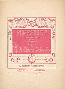1913 'Fireflies' A G Grant Schaefer Sheet Music