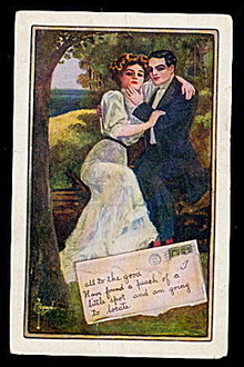 Lovely Signed Ryan Couple in Love 1911 Postcard
