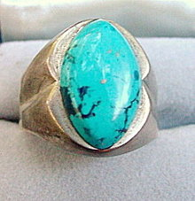 Mexico Large Sterling .925 w Blue Mens Ring