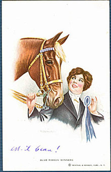 'Blue Ribbon Winners' R D Wallace Girl & Horse Postcard