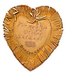 1906 Heart Shaped Leather Postcard - Great!