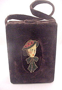 Early 1900's Brown Velvet Box Purse With Glass Beads