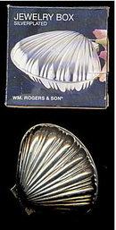 Wm Rogers Silverplate Clam Jewelry Box in Box
