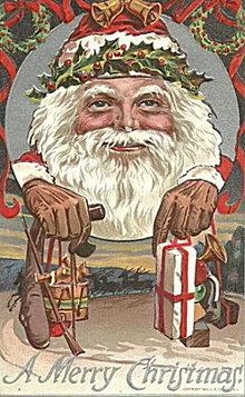 1910 Santa Claus Holding Toys Postcard - Neat!