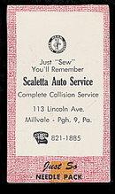 1950s Scaletta Auto Service PA Needle Book