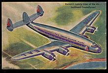1940s Eastern Airlines Lockheed Constellation Postcard