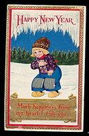 1913 New Years Dutch Girl 1908 Postcard