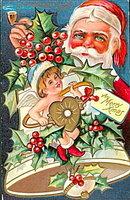1910 Santa Claus Smoking a Pipe Postcard - Winsch
