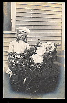 Children with Carriage Real Photo 1907 Postcard