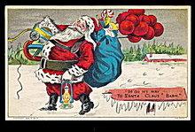 Santa Claus Holding Balloons Postcard ca 1910