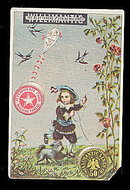 1880s Willimantic Thread Girl with Dog Trade Card