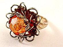 Lovely Vintage Orange Stone Floral Cocktail Ring