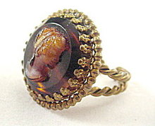 W Germany Brown Glass Cameo Relief Ring