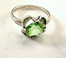Lovely Sterling Silver NRL with Light Green Stone Ring