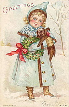 Lovely 1908 Christmas Girl with Puppy Postcard
