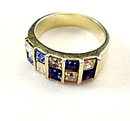 Beautiful Blue & White Stone Square Vintage Ring