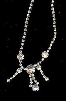 "Rhinestone w Dangles 13"" Choker Necklace"