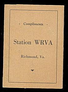 Richmond VA Station WRVA Vintage Needle Book