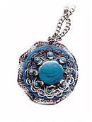 Blue Floral/Flower Lucite & Metal Pendant Necklace