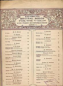 1897 Favorite Recital Solos for the Violin Sheet Music