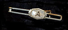Vintage Mother of Pearl 'A' Initial Tie Clasp/Clip