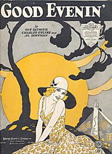 """1930 """"Good Evenin"""" Art Deco Lady Sheet Music"""
