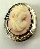 Lovely Early Coral & Sterling Silver Cameo Woman Pin
