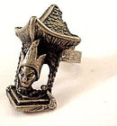 Vintage Pewter Indian Temple HUGE Ring