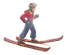 1930s Hollowcast Lead Man on Skis in Red