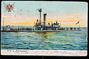 U.S.S. Miantonomah Military Ship 1907 Postcard
