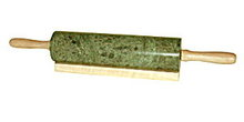 Green Marble Rolling Pin with Wooden Handles