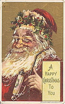 Julius Bien Santa Claus with Pipe 1912 Postcard