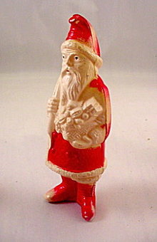 1920s Celluloid Santa Claus with Bag & Toys