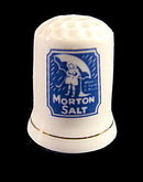 Vintage Morton Salt Advertising Porcelain Thimble