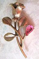 Lovely Vintage Goldtone Avon Rose Brooch with Stones