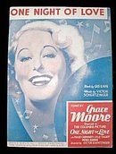'One Night of Love' Grace Moore Picture Sheet Music
