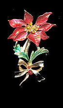 Vintage Christmas Poinsettia with Rhinestones Pin