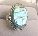 Large ND .925 Sterling with Mother of Pearl Ring