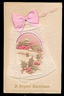 Silk Ribbon & Glitter Christmas Bell 1919 Postcard