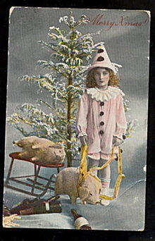 1914 Real Photo Girl with Stuffed Pigs Postcard