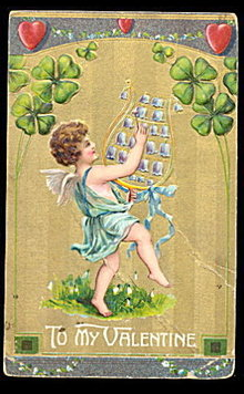 'To My Valentine' Cherub with Harp 1910 Postcard