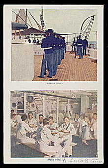 "1907 ""Marine Drill"" Military Scenes Postcard"
