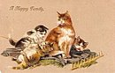 1907 'A Happy Family' Cats/Kittens PFB Postcard
