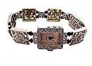 Marcasite Look with Black Crystals Ladies Watch