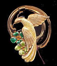 Lovely Yellow Bird on Swing Brooch