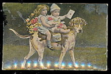 Tucks Children Riding a Dog Rapholette 1907 Postcard