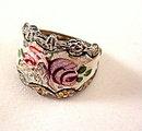Vintage Enameled Roses Silvertone Ladies Ring