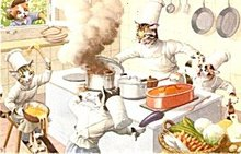 Early Mainzer Dressed Cats Belgium Chefs Postcard