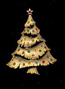 Vintage J.J. Christmas Tree with Rhinestones Pin