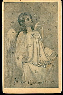 'A Happy Eastertide Be Yours' 1908 Angel Postcard